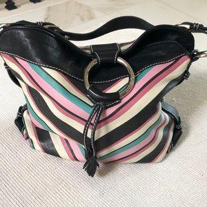 Striped leather bucket purse